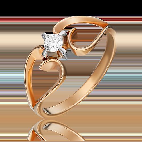 Кольцо из комбинированного золота с бриллиантом 01-0055-00-101-1111-30