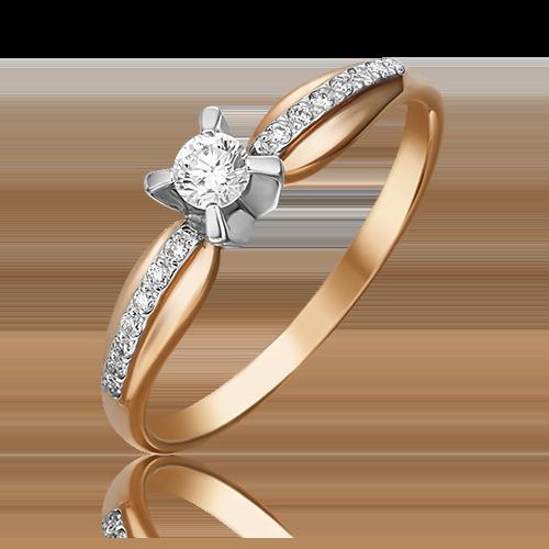 Кольцо из комбинированного золота с бриллиантом 01-0081-00-101-1111-30