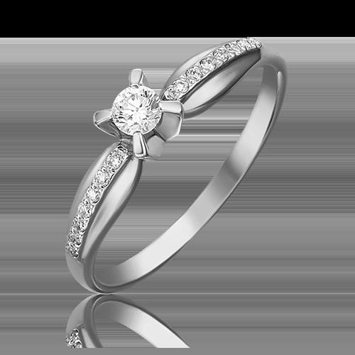 Кольцо из белого золота с бриллиантом 01-0082-00-101-1120-30
