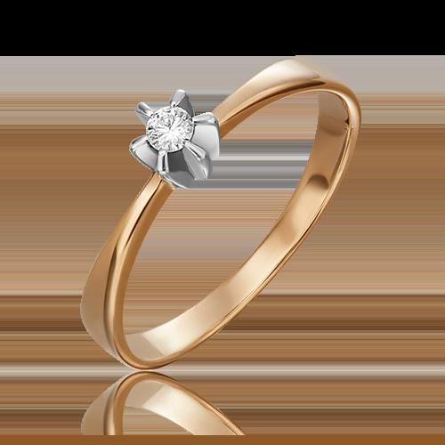 Кольцо из комбинированного золота с бриллиантом 01-0087-00-101-1111-30