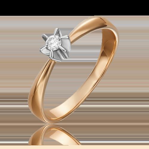 Кольцо из комбинированного золота с бриллиантом 01-0099-00-101-1111-30