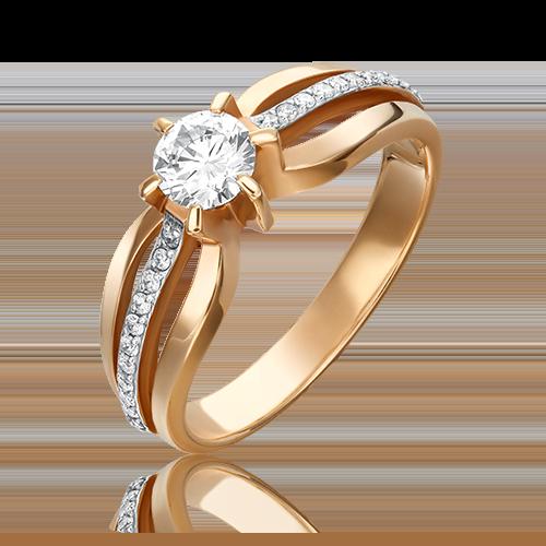 Кольцо из красного золота с бриллиантом 01-0181-00-101-1110-30