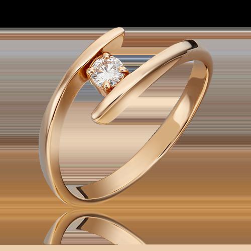 Кольцо из красного золота с бриллиантом 01-0265-00-101-1110-30
