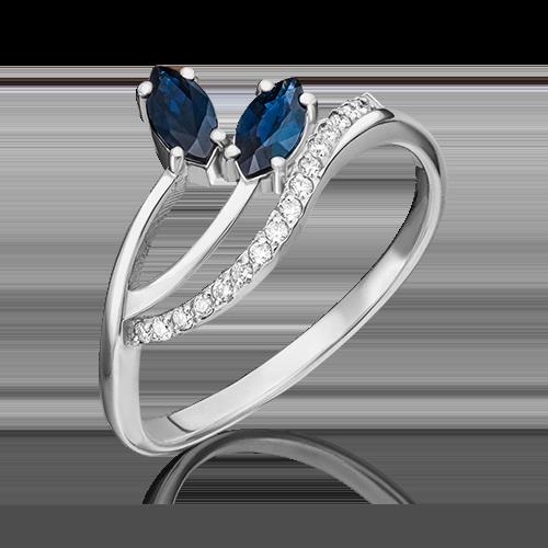 Кольцо из белого золота с сапфиром и бриллиантом 01-0122-00-105-1120-30
