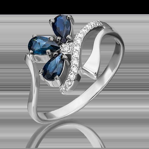 Кольцо из белого золота с сапфиром и бриллиантом 01-0134-00-105-1120-30