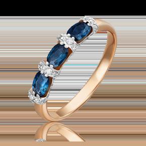 Кольцо из красного золота с сапфиром и бриллиантом 01-5544-00-105-1110-30