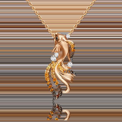 Подвеска из красного золота с топазом, цитрином и кварцем дымчатым 03-3166-00-731-1110-57