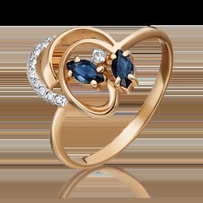 Кольцо из красного золота с сапфиром и бриллиантом 01-1058-00-105-1110-30