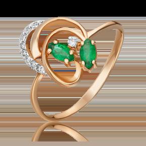 Кольцо из красного золота с изумрудом и бриллиантом 01-1058-00-106-1110-30
