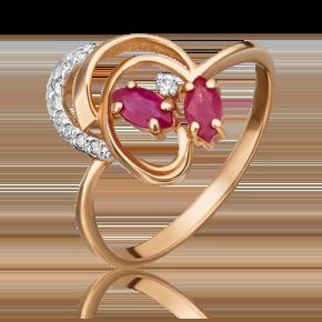 Кольцо из красного золота с рубином и бриллиантом 01-1058-00-107-1110-30