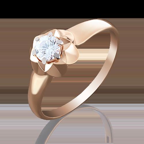 Помолвочное кольцо из красного золота с бриллиантом 01-4941-00-101-1110-30