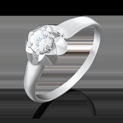 Помолвочное кольцо из белого золота с бриллиантом 01-4941-00-101-1120-30