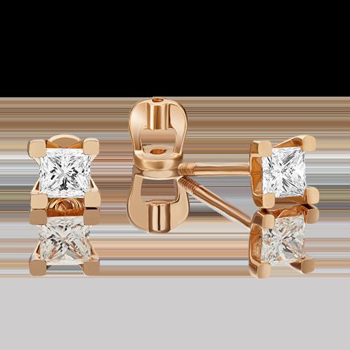 Серьги-пусеты из красного золота бриллиантом 02-3821-00-101-1110-30