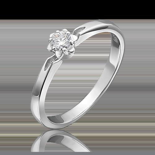 Кольцо из белого золота с бриллиантом 01-1009-00-101-1120-30