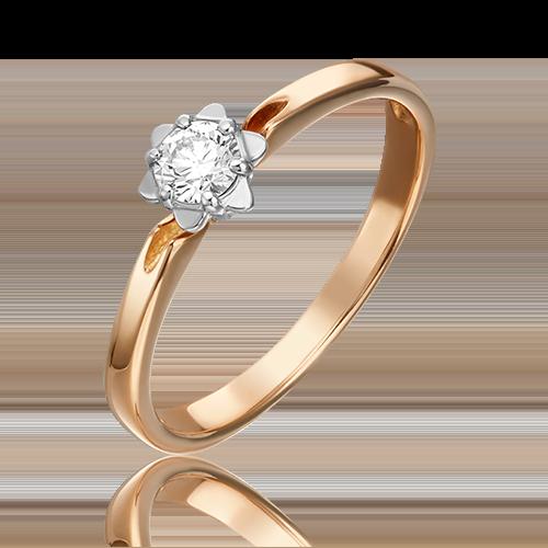 Кольцо из комбинированного золота бриллиантом 01-1012-00-101-1111-30