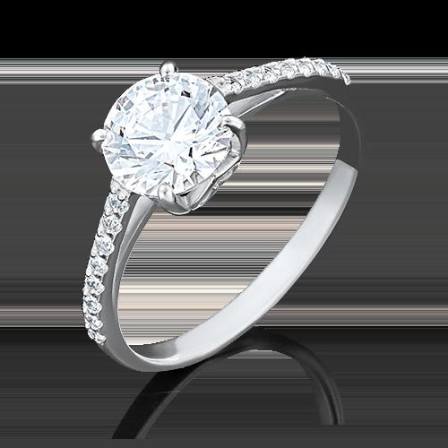 Кольцо из белого золота с фианитом огр.SW 01-4462-00-501-1120-38