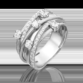 Кольцо из белого золота с фианитом 01-5367-00-401-1120-24
