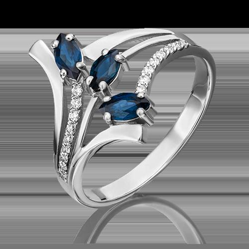 Кольцо из белого золота с сапфиром и бриллиантом 01-0138-00-105-1120-30