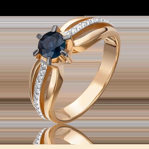 Кольцо из красного золота с сапфиром и бриллиантом 01-0181-00-105-1110-30