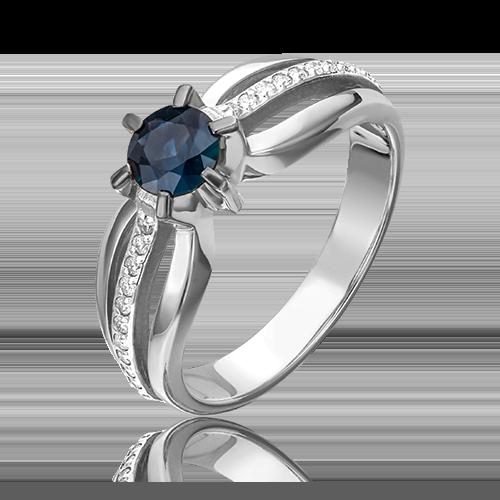 Кольцо из белого золота с сапфиром и бриллиантом 01-0182-00-105-1120-30