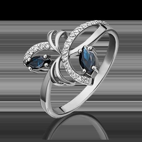 Кольцо из белого золота с сапфиром и бриллиантом 01-0190-00-105-1120-30
