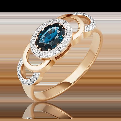 Кольцо из красного золота с сапфиром и бриллиантом 01-0196-00-105-1110-30