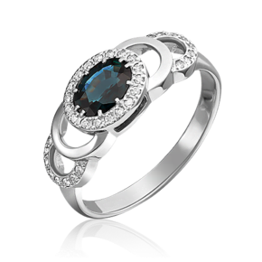Кольцо из белого золота с сапфиром и бриллиантом 01-0197-00-105-1120-30