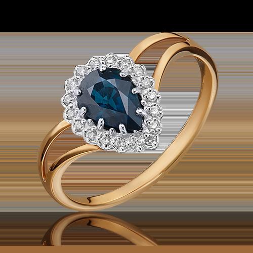 Кольцо из красного золота с сапфиром и бриллиантом 01-0218-00-105-1110-30