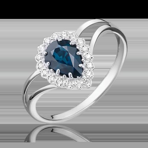 Кольцо из белого золота с сапфиром и бриллиантом 01-0219-00-105-1120-30