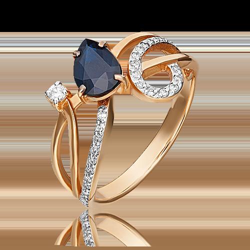 Кольцо из красного золота с сапфиром и бриллиантом 01-0232-00-105-1110-30