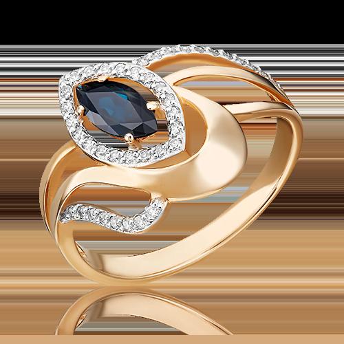 Кольцо из красного золота с сапфиром и бриллиантом 01-0245-00-105-1110-30