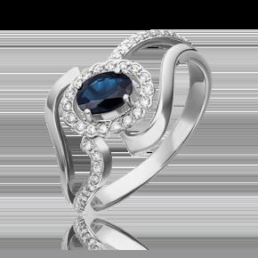 Кольцо из белого золота с сапфиром и бриллиантом 01-0260-00-105-1120-30