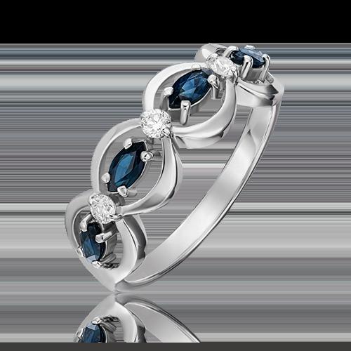 Кольцо из белого золота с сапфиром и бриллиантом 01-0276-00-105-1120-30