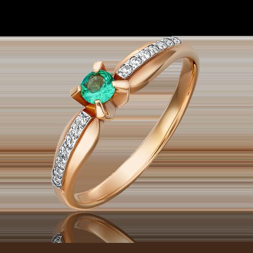 Кольцо из комбинированного золота с изумрудом и бриллиантом 01-0081-00-106-1111-30