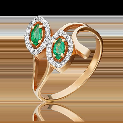 Кольцо из красного золота с изумрудом и бриллиантом 01-0127-00-106-1110-30