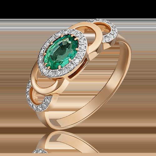 Кольцо из красного золота с изумрудом и бриллиантом 01-0196-00-106-1110-30