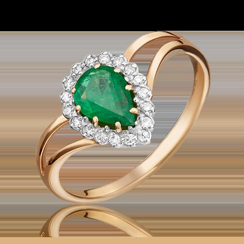 Кольцо из красного золота с изумрудом и бриллиантом 01-0218-00-106-1110-30
