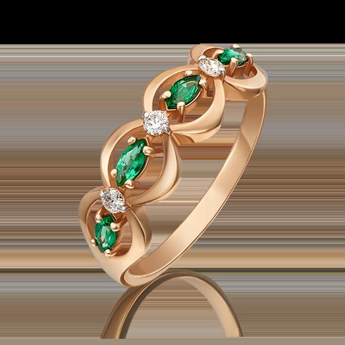 Кольцо из красного золота с изумрудом и бриллиантом 01-0275-00-106-1110-30