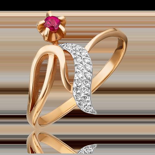 Кольцо из красного золота с рубином и бриллиантом 01-0105-00-107-1110-30