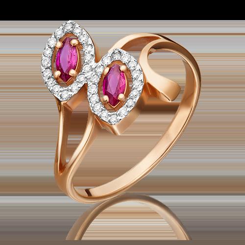 Кольцо из красного золота с рубином и бриллиантом 01-0127-00-107-1110-30