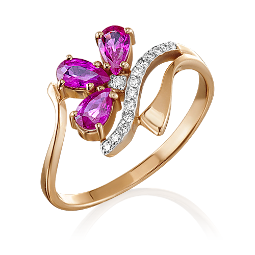 Кольцо из красного золота с рубином и бриллиантом 01-0133-00-107-1110-30