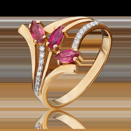 Кольцо из красного золота с рубином и бриллиантом 01-0137-00-107-1110-30