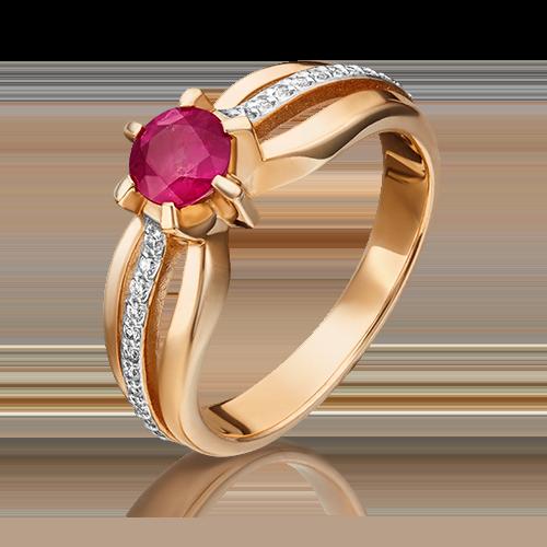 Кольцо из красного золота с рубином и бриллиантом 01-0181-00-107-1110-30