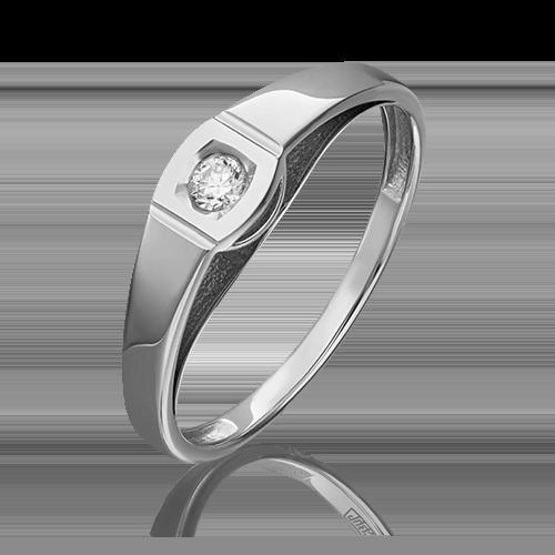 Помолвочное кольцо из белого золота с бриллиантом 01-4950-00-101-1120-30