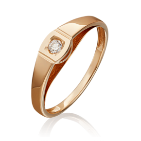 Помолвочное кольцо из красного золота с бриллиантом 01-4950-00-101-1110-30