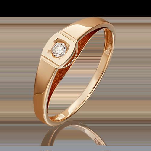 Помолвочное кольцо из красного золота бриллиантом 01-4950-00-101-1110-30