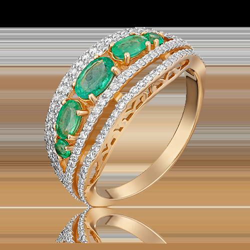 Кольцо из красного золота с изумрудом и бриллиантом 01-1351-00-106-1110-30