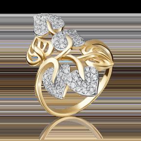 Кольцо из лимонного золота с фианитом 01-3653-00-401-1130-24