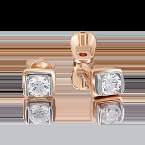 Серьги-пусеты из комбинированного золота с бриллиантом 02-4204-00-101-1111-30