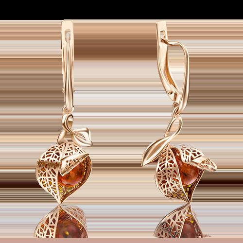 Серьги из красного золота с янтарём и эмалью 02-4022-00-271-1110-58